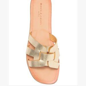 ROCK & CANDY Dhira Gold Woven Sandal Sz 6